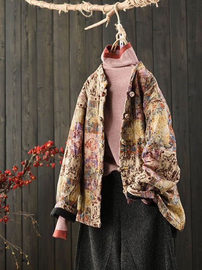 Winter Print Vintage Round Neck Single-Breasted Loose Cotton Coat