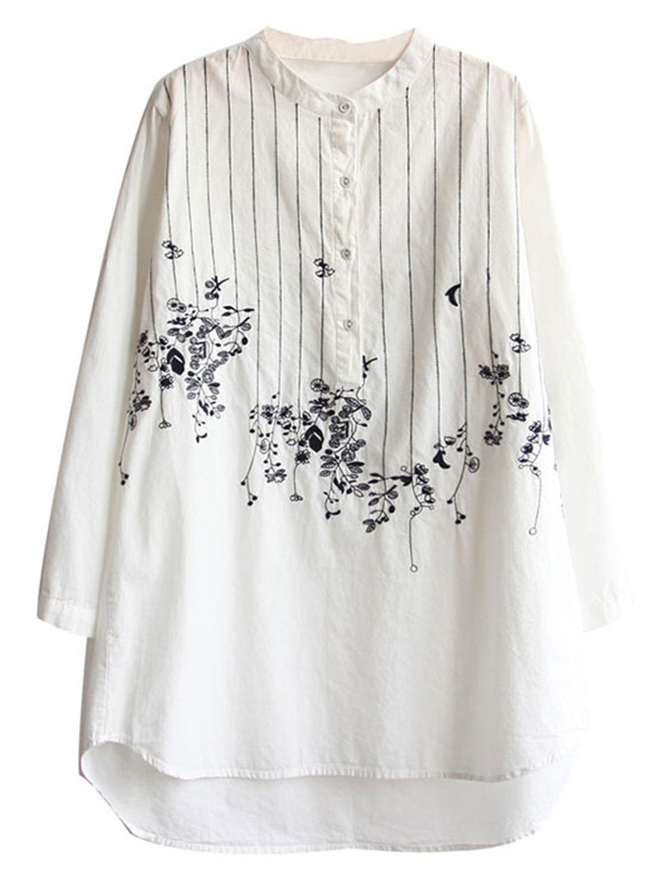 Japanese Sweet Floral Embroidery Stand Collar Loose Spring Blouse