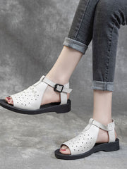 Hollow Hasp Summer Spring Casual Low Heel Leather Sandals