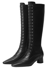 Knee-High Side Zipper Mid-Heel Leather Riding Boots