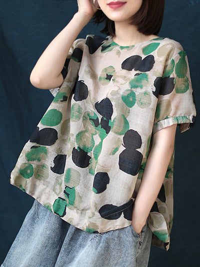 Simple Summer Polka Dots Print Pullover Short Sleeve Loose T-Shirt