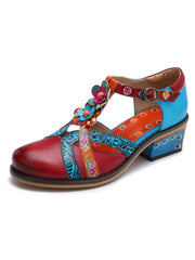 Summer Flower Hand Painted Spring Euro-American Chunky Heel Sandals