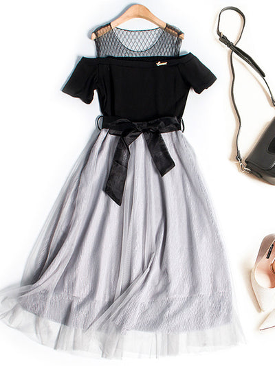 Summer Off-The-Shoulder Patchwork Mesh Stripe European Dress