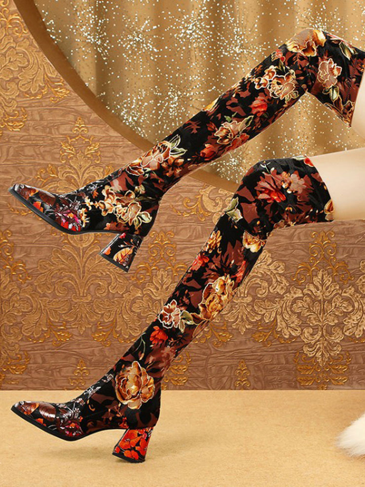Flower Printed Folk Style Chunky Heel Over-the-Knee Boots