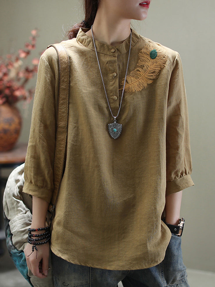 Summer Embroidery Three-Quarter Sleeve Round Neck Casual Ethnic Blouse