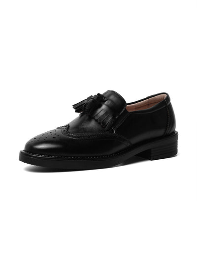 Carved Spring Chunky Heel Euro-American Casual Leather Loafers