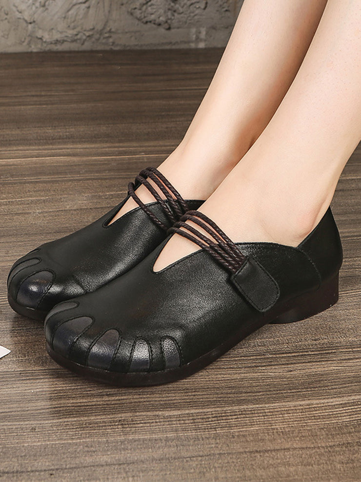 Velcro Vintage Flat Heel Round Toe Spring Fall Leather Flats