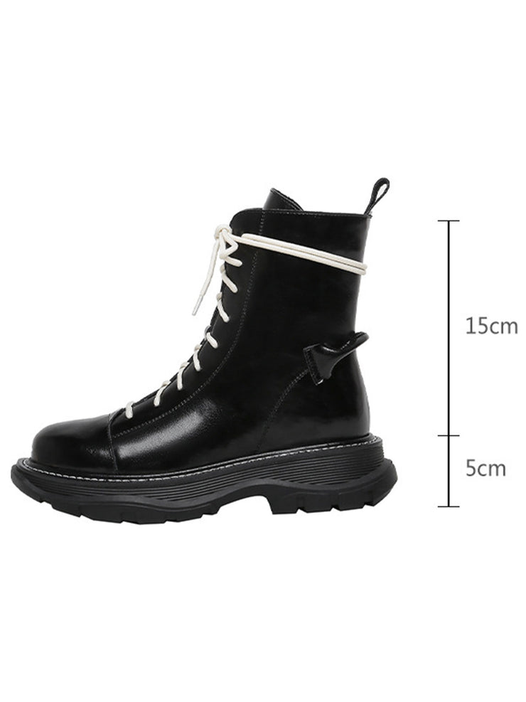 Punk Mid-Heel Lace-Up Front Ankle Platform Leather Riding Boots