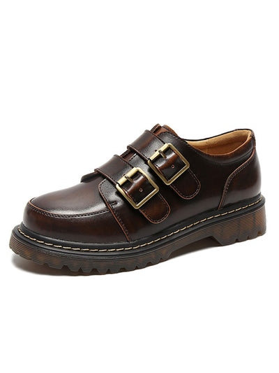 Preppy Buckle Casual Spring Mid-Heel Round Toe Leather Loafers