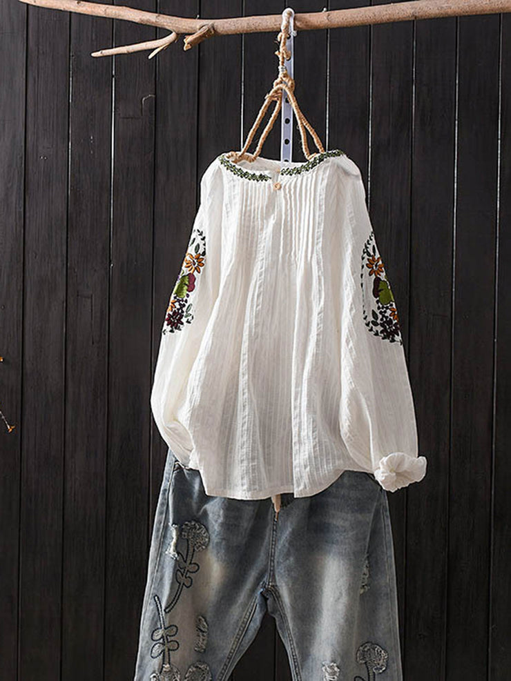 Vintage Button Embroidery Spring Long Sleeve Round Neck Cotton Blouse