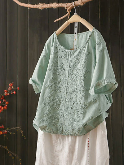 Embroidery Casual Pullover Short Sleeve Summer Round Neck T-Shirt