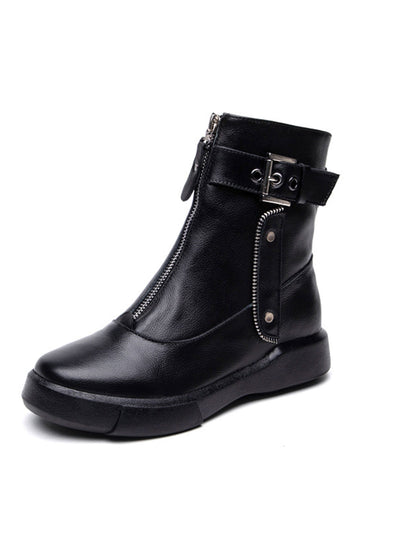 Flat Heel British Casual Buckle Front Zipper Boots