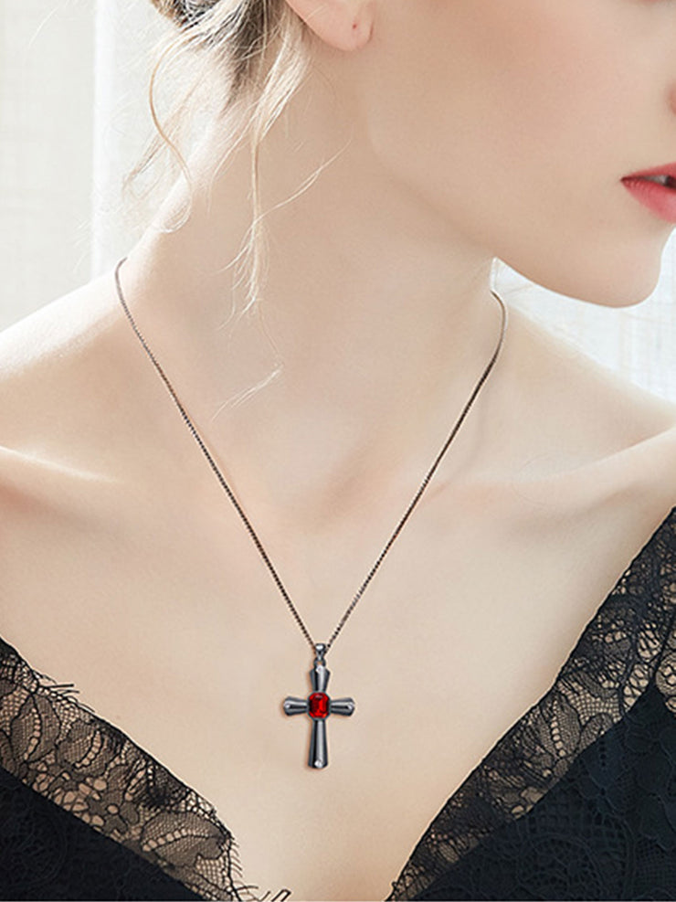 European Crystal Elegant Lady Cross Necklace