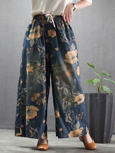 Spring Worn Wide Legs Casual Loose Print Ethnic Jeans