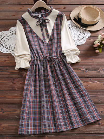 Spring Ruffle Sleeve Double-Layer Sweet Plaid A-Line Dress