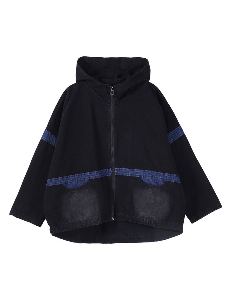 Winter Hooded Fleece Vintage Patchwork Worn Short Denim Coat