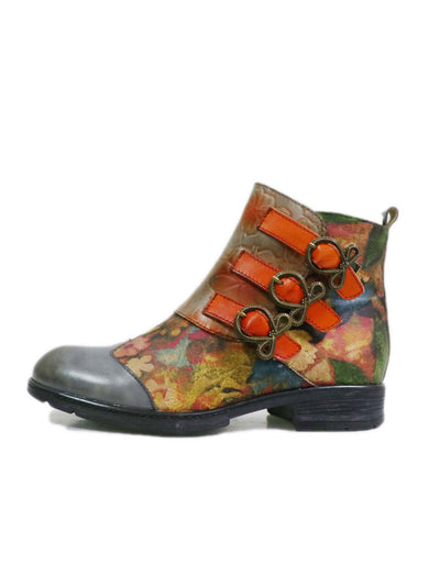 Side Zipper Color Block Euro-American Leather Fashion Boots