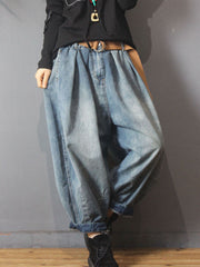 Spring Fall Pocket Worn Casual Cotton Jeans