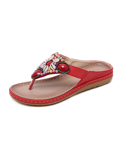 Summer Folk Style Beach Beads Sewing Elastic Round Toe Slippers Sandals