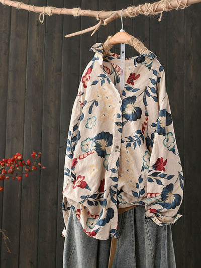 Lapel Thin Single-Breasted Vintage Floral Print Fall Blouse