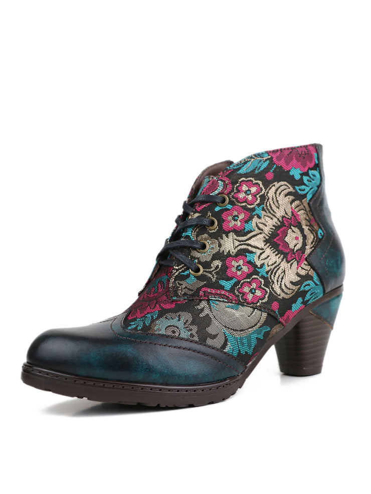 Printed Side Zipper Ankle Leather Fall Fashion Boots