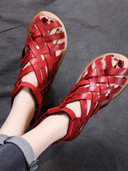 Velcro Daily Casual Low Heel Weave Vintage Hollow Sandals