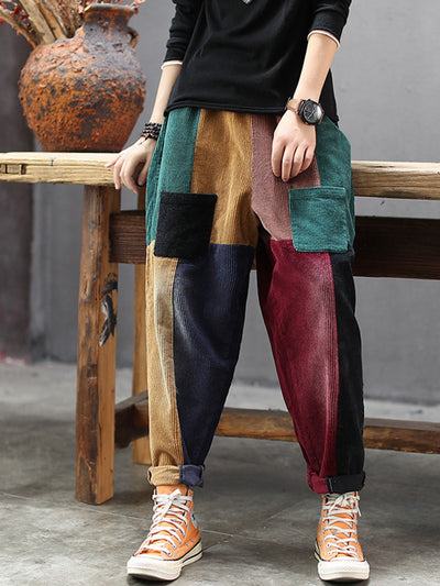 Spring Fall Harem Casual Color Block Loose Corduroy Pants
