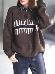 Winter Round Neck Loose Pullover Geometric Woolen Sweater