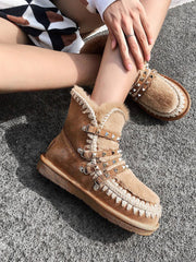 Ankle Flat Heel Round Toe Winter Leather Snow Boots