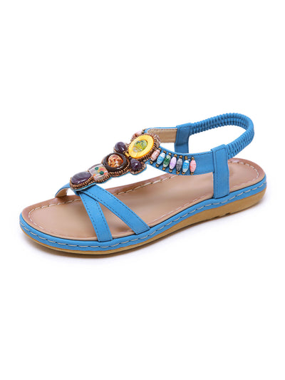 Summer Daily Folk Style Beads Round Toe Elastic Low Heel Sandals