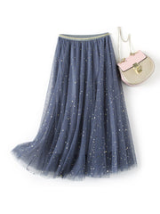 Print A-Line Mori Girl Mesh Thin Summer Spring Skirt