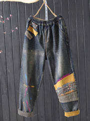 Color Block Embroidery Worn Casual Loose Winter Fall Jeans