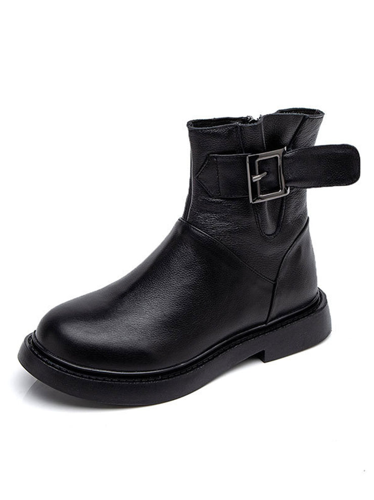 Side Zipper Buckle Flat Heel Ankle Leather Boots