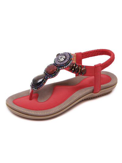 Summer Folk Style Beads Lace-Up Back Casual Sandals