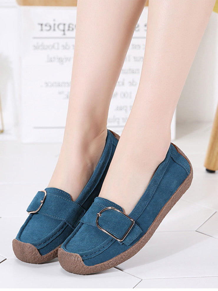 Spring Buckle Casual Slip-On Flat Heel Leather Flats