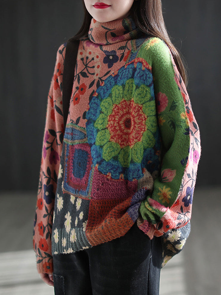 Vintage Print Winter Thick Turtleneck Ethnic Loose Sweater