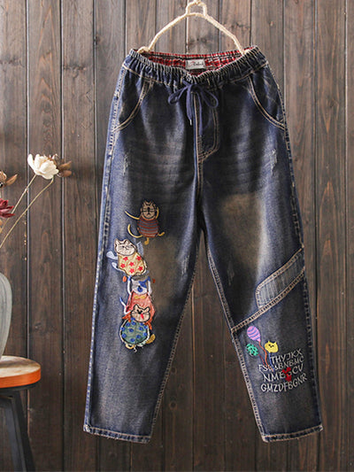 Fall Winter Embroidery Worn Loose Vintage Harem Jeans