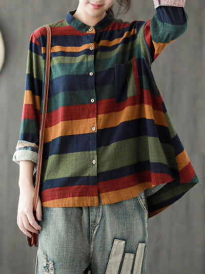 Ethnic Stripe Spring Fall Long Sleeve Stand Collar Blouse
