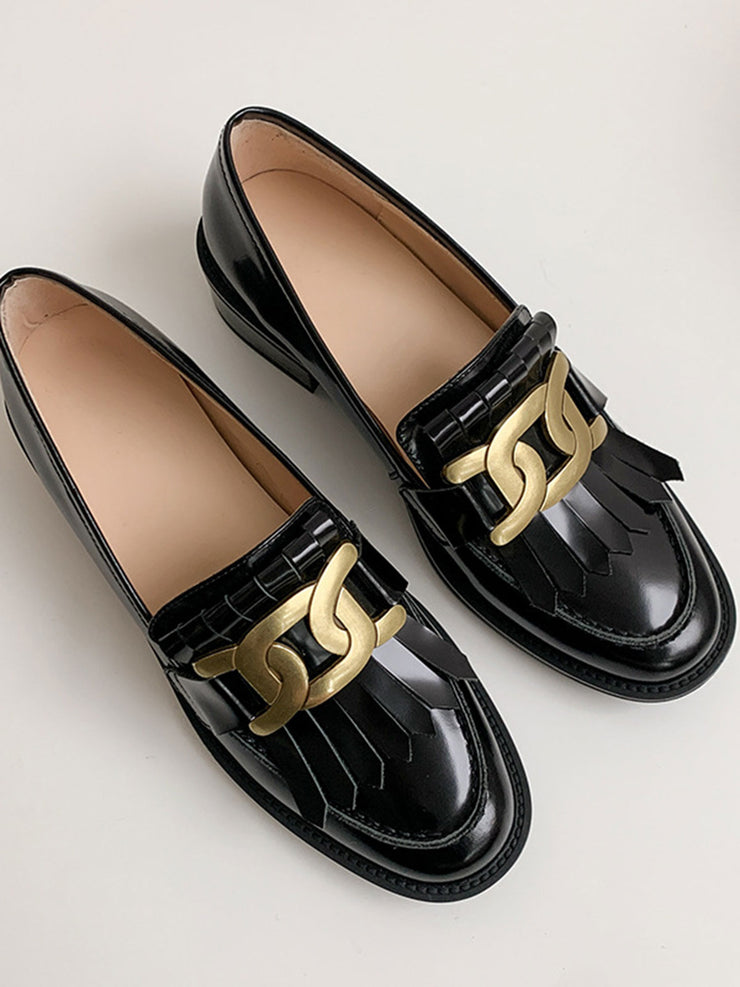 Tassel Slip-On Round Toe British Low Heel Spring Leather Loafers