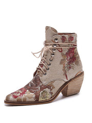 Lace-Up Front Flower Folk Style Fall Ankle Mid-Heel Boots