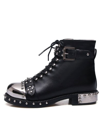 Leather Rivets Round Toe Platform Riding Boots
