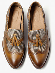 Retro Style Brock Carved Tassel Loafers