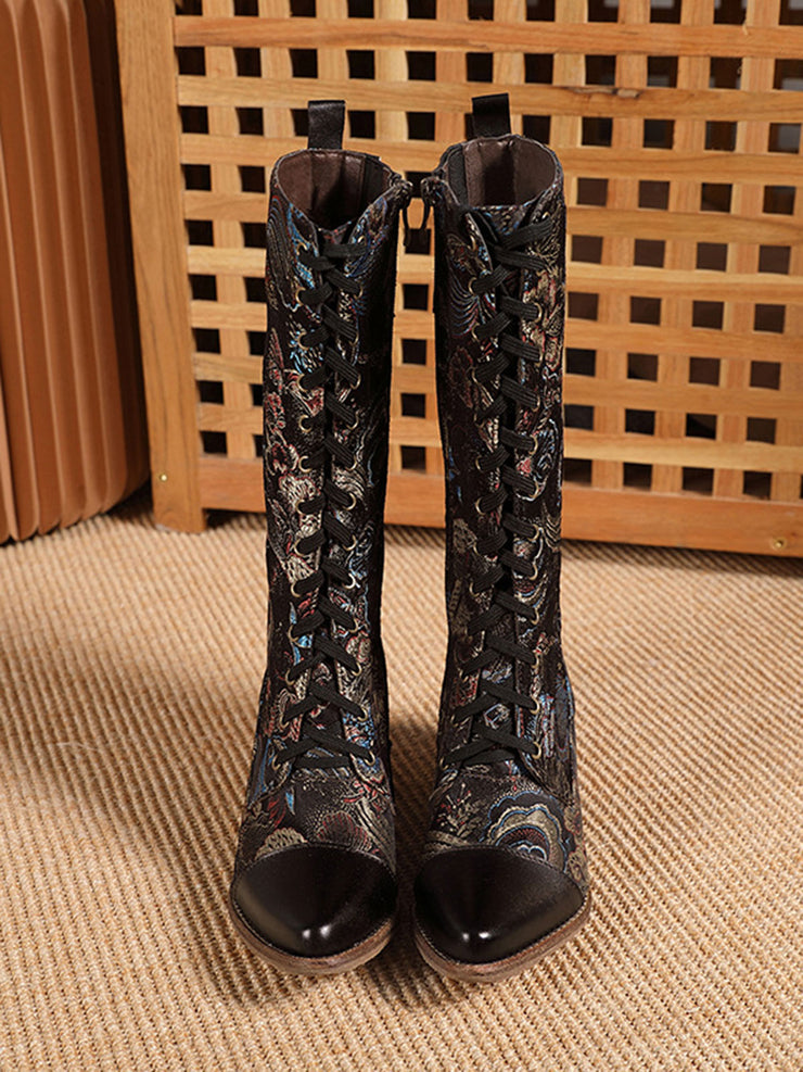 Flower Square Heel Knee-High Pointed Toe Fashion Boots
