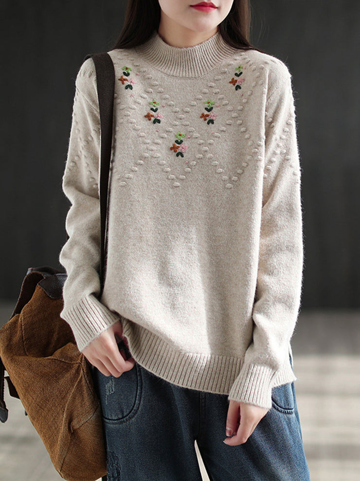 Vintage Embroidery Turtleneck Thick Loose Winter Sweater
