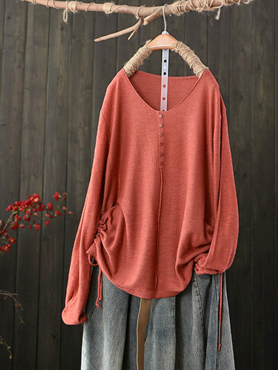 V-Neck Lace-Up Pullover Single-Breasted Simple Loose Cotton Sweatshirt