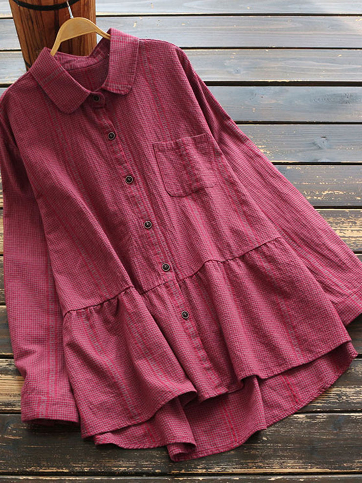 Lapel Spring Fall Japanese Plaid Loose Cotton Blouse