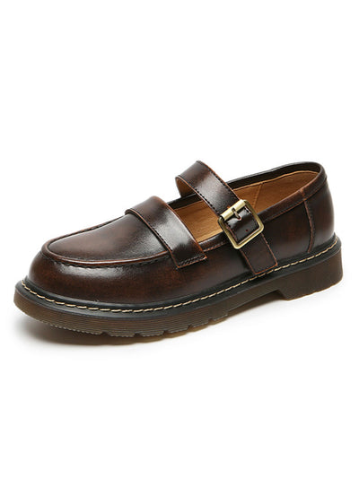 Preppy Buckle Fall Summer Round Toe Leather Daily Loafers