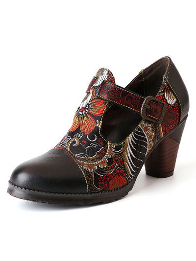 Folk Style Embossed Buckle Casual Chunky Heel Spring Leather Heels