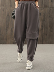 Winter Korean Pocket Fleece Harem Loose Cotton Pants