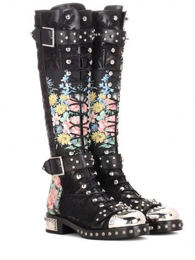Rivets Printed Knee-High Platform Leather Boots